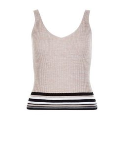 Tall Shell Pink Stripe Trim Ribbed Vest | New Look