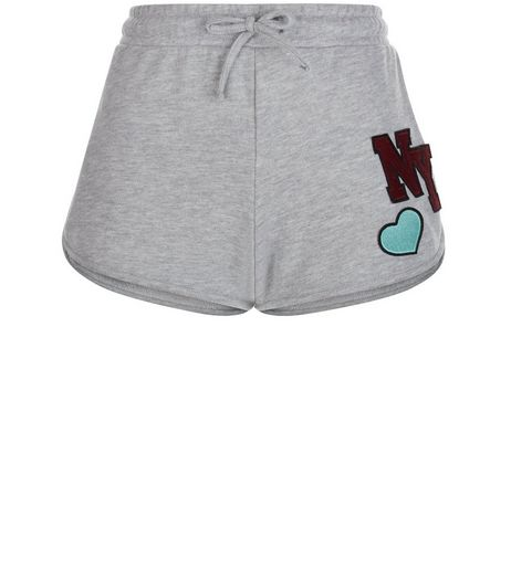 Grey NY Badge Runner Shorts | New Look