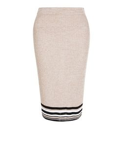 Petite Shell Pink Stripe Trim Ribbed Midi Skirt | New Look