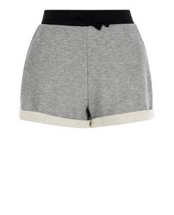 Grey Colour Block Turn Up Shorts  | New Look