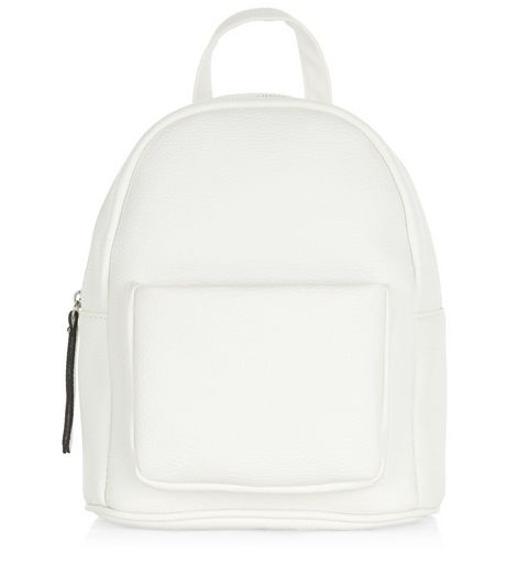 White Pocket Front Curved Mini Backpack  | New Look