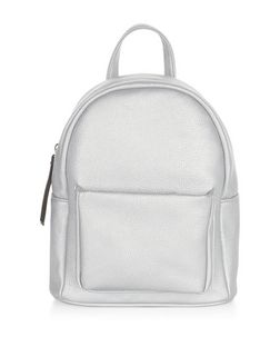Silver Pocket Front Curved Mini Backpack  | New Look