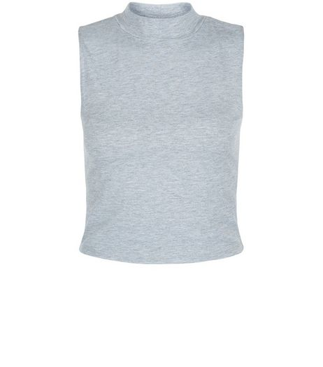 Teens Grey Turtle Neck Sleeveless Top | New Look