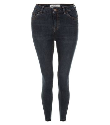 Dark Blue Drop Hem Skinny Jeans