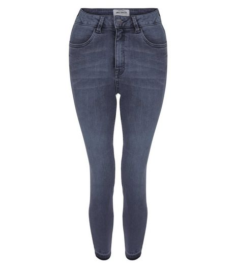 Grey Faded Drop Hem Skinny Jeans  | New Look