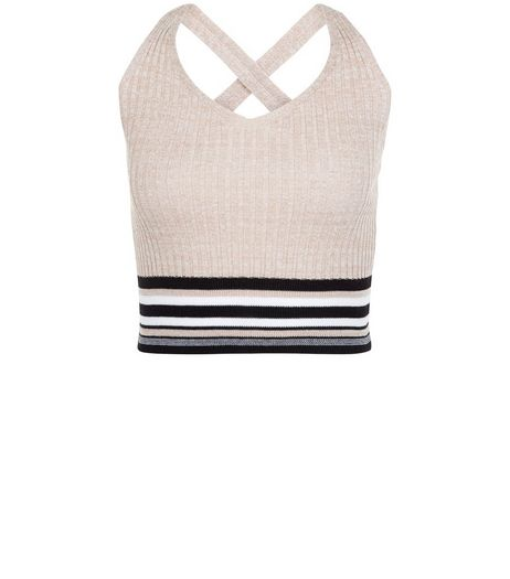 Petite Shell Pink Stripe Trim Ribbed Vest | New Look