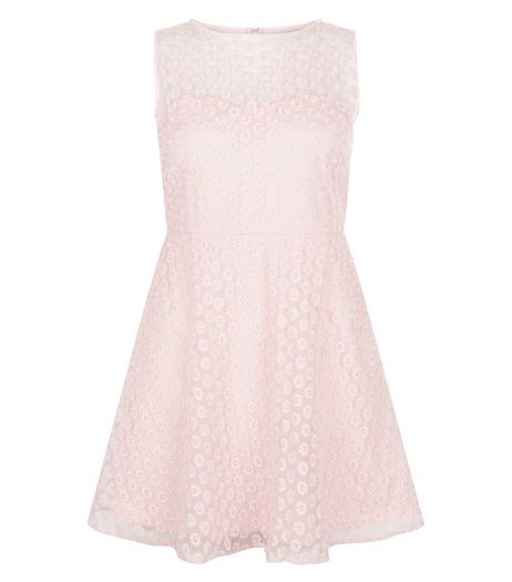 Blue Vanilla Pink Daisy Mesh Skater Dress  | New Look