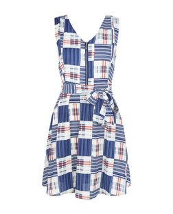 Mela Blue Check Zip Front Skater Dress | New Look