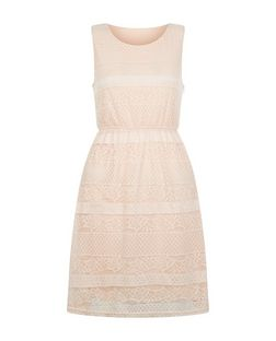 Mela Pink Lace Skater Dress | New Look