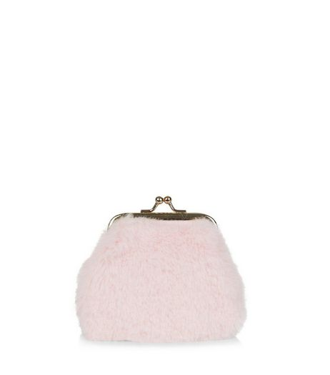 Shell Pink Faux Fur Purse | New Look