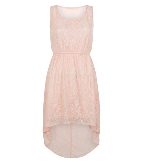 Mela Pink Lace Dip Hem Dress | New Look