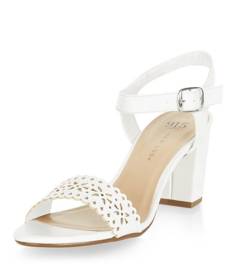 Teens White Laser Cut Out Block Heels  | New Look