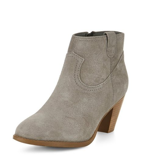 Grey Leather Western Block Heel Ankle Boots  | New Look
