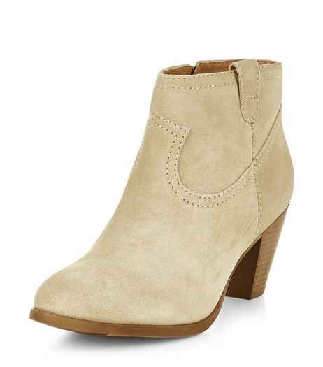 Cream Leather Western Block Heel Ankle Boots  | New Look
