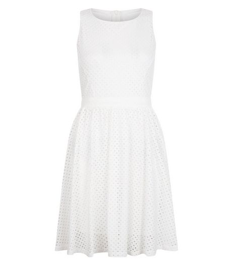 Mela White Lace Sleeveless Skater Dress | New Look