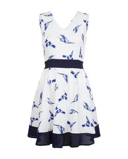 Mela White Bird Print Contrast Trim Dress | New Look