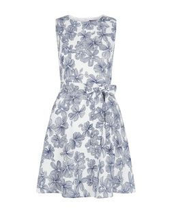 Mela White Floral Print Tie Waist Dress | New Look