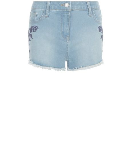 Parisian Blue Embroidered Denim Shorts | New Look
