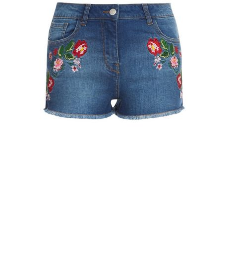 Parisian Blue Floral Embroidered Denim Shorts | New Look