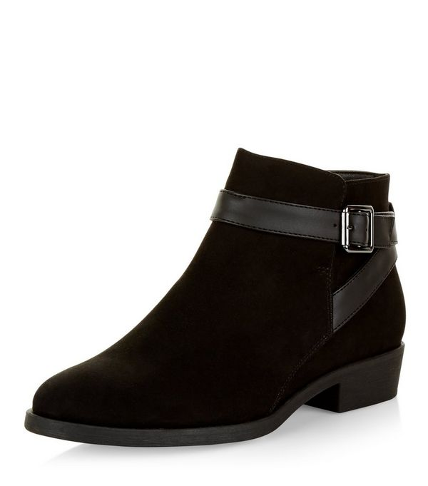 Black Suedette Buckle Ankle Boots