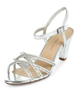 Teens Silver Diamante Cross Strap Heels | New Look