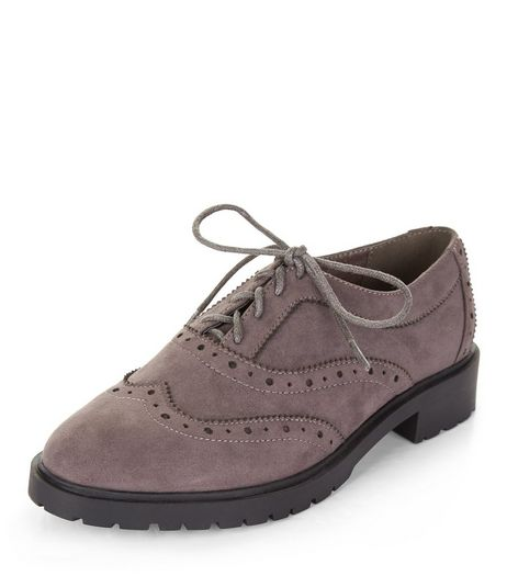 Teens Grey Suedette Chunky Brogues | New Look