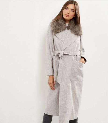 Cream Faux Fur Collar Belted Longline Coat  | New Look