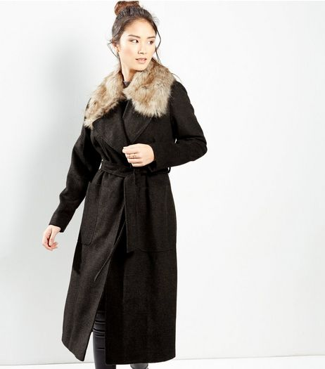 Khaki Faux Fur Collar Belted Longline Coat  | New Look