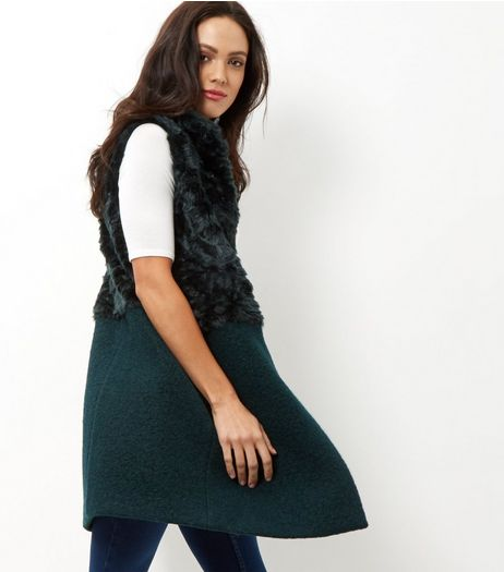 Dark Green Contrast Faux Fur Gilet | New Look