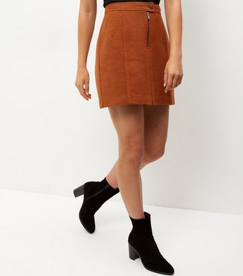 Rust Zip Front Mini Skirt