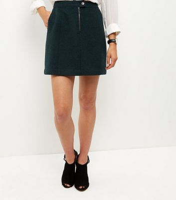 Dark Green Zip Front Mini Skirt