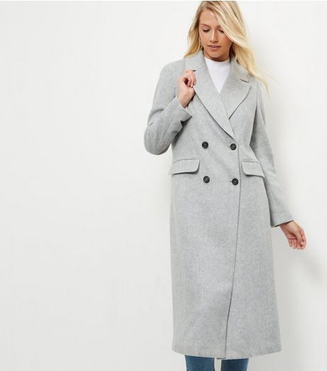 Grey Button Front Longline Coat  | New Look
