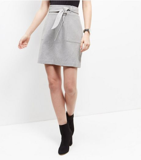Grey Tie Front Skirt  | New Look