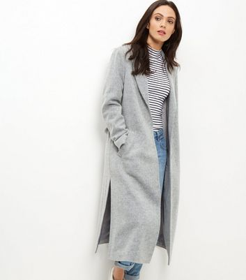 Grey Bar Back Split Side Maxi Coat