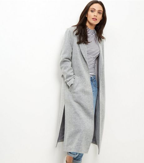 Grey Bar Back Split Side Maxi Coat  | New Look