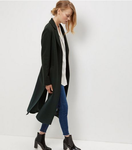 Dark Green Strap Back Split Side Maxi Coat  | New Look