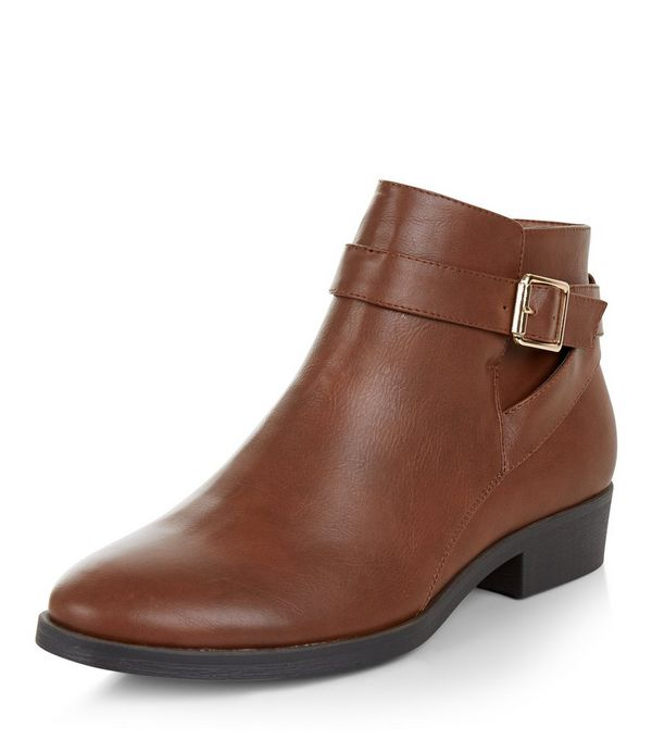 Tan Leather-Look Buckle Ankle Boots