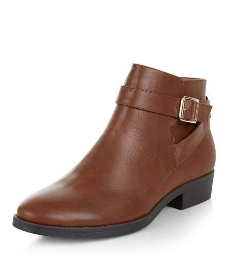 Tan Leather-Look Buckle Ankle Boots | New Look