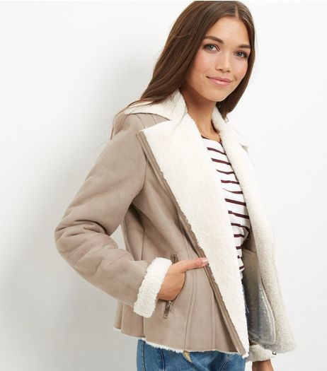Stone Suedette Borg Lined Biker Jacket  | New Look