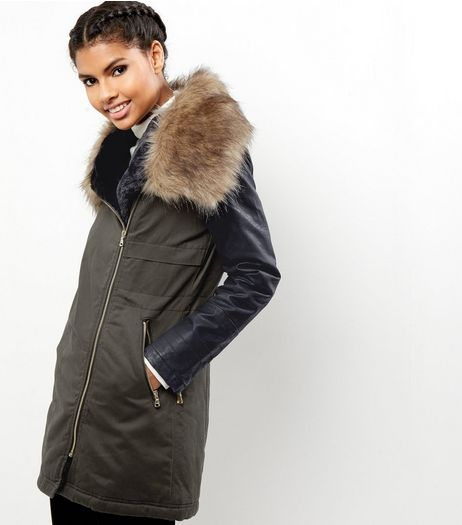 Khaki Leather-Look Sleeve Faux Fur Collar Parka  | New Look
