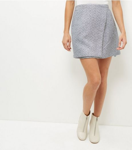 Grey Wrap Front Flecked Skirt  | New Look