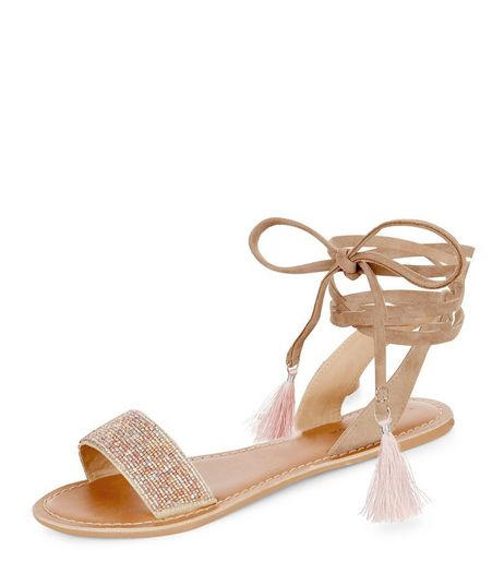Pink Leather Beaded Lace Up Sandals | New Look