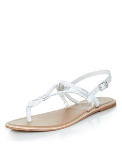 White Leather Plait Strap Sandals | New Look
