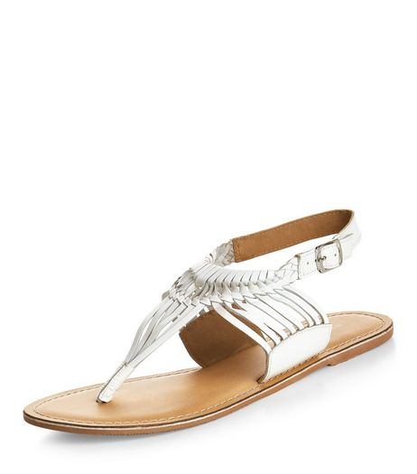 White Leather Twisted Strap Sandals  | New Look