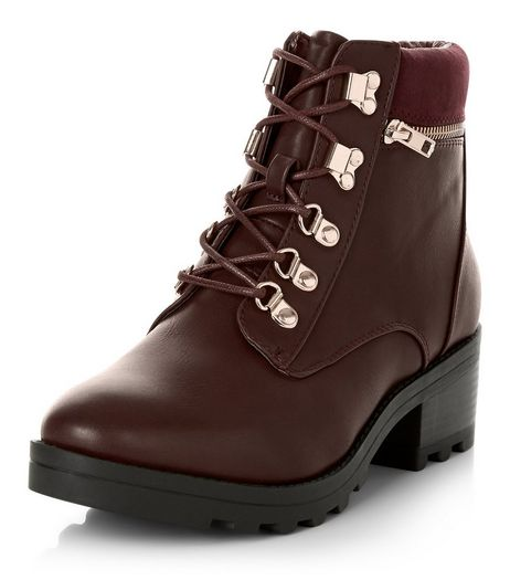 Dark Red Lace Up Chunky Ankle Boots | New Look