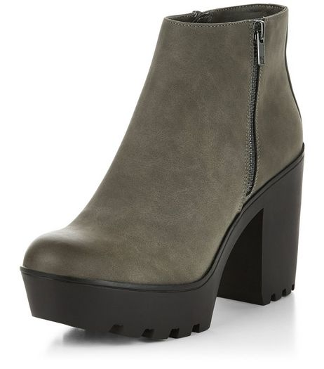 Grey Suedette Chunky Block Heel Ankle Boots  | New Look