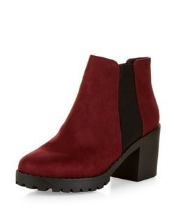 Red Suedette Chunky Chelsea Boots  | New Look
