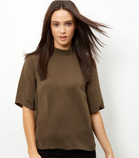 JDY Khaki Funnel Neck Woven Top  | New Look