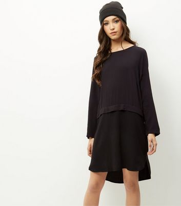 Product photo of Jdy black layered long sleeve dress