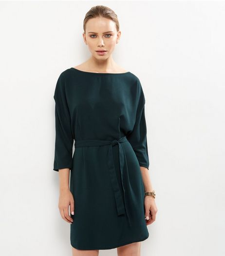 JDY Dark Green 3/4 Sleeve Belted Dress | New Look